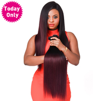 Today Only Burgundy Brazilian Straight Hair Ombre Human Hair Extensions Remy Hair Weave Bundles 99J Two