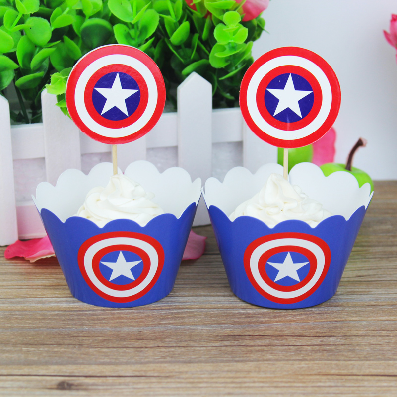 24pcs The Avengers Captain America Party Paper Cupcake wrappers toppers for kids birthday party