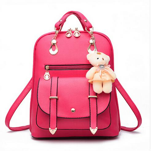 2017 New Women Leather Backpacks Bolsas Mochila Feminina Large Girls Schoolbag Travel Bag Solid Candy Color Femme Sac A dos  new women leather backpack black bolsas mochila feminina girl schoolbag travel bag solid candy color green pink beige