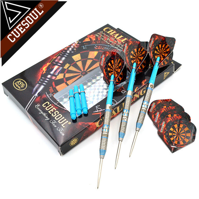 New CUESOUL 145mm Professional 85% Tungsten Steel Tip Darts With Nylon Shafts 24/26/28g Blue cuesoul 95% tungsten steel tip darts with 6pcs aluminum shafts 30 grams dart barrels
