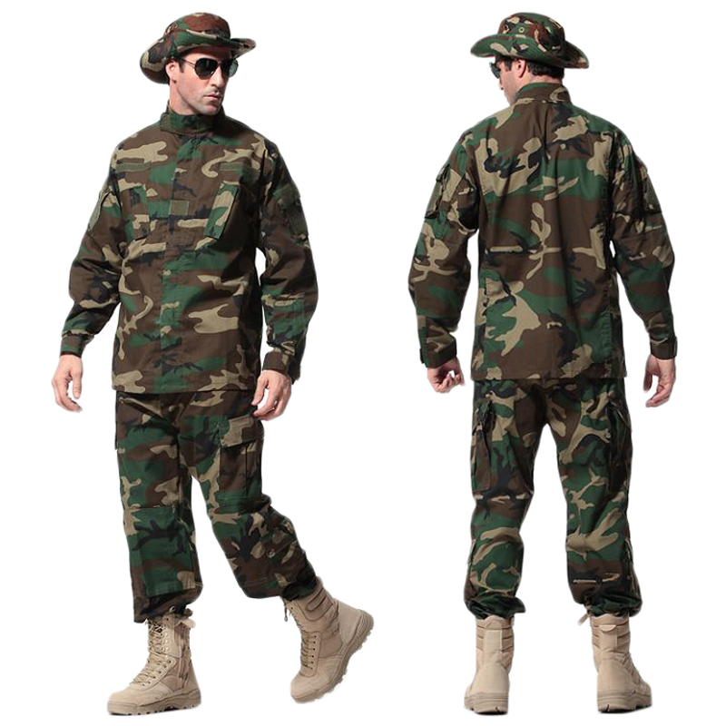 US Army Tactical Uniform Woodland Camouflage Suit Military Combat Uniform Set Shirt + Pants Clothing Outdoor Hunting Clothes Men summer tactical camouflage army combat suit men typhone military uniform short sleeve militar airsoft paintball uniform set