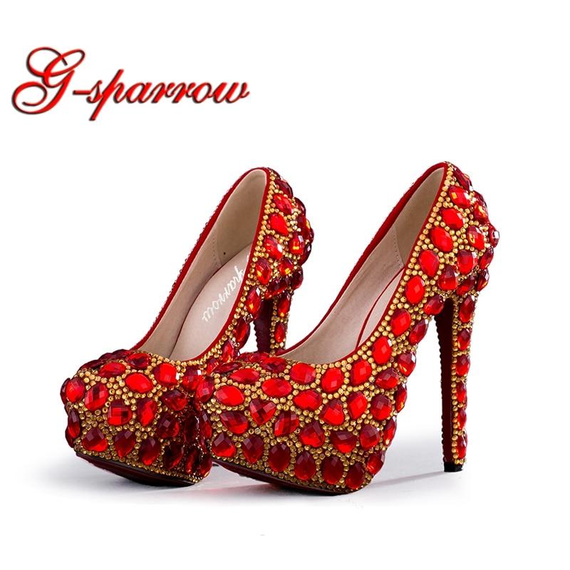 2018 Handmade Wedding Bridal Shoes Red