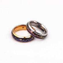 Fashion Titanium Black Mood Rings Temperature Emotion Feeling Engagement Rings for Women Men Jewelry Promise Rings for Couples