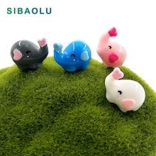 Love Elephant miniature cartoon figurine Pink Blue grey white decoration mini fairy garden animals statue toy gift resin craft