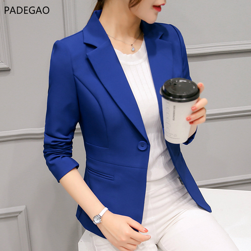 PADEGAO Women Black Slim Fit Blazer Jackets Notched Office Work Blue Blazer Outfits Casual Tops Long Sleeve Outerwear Coats S