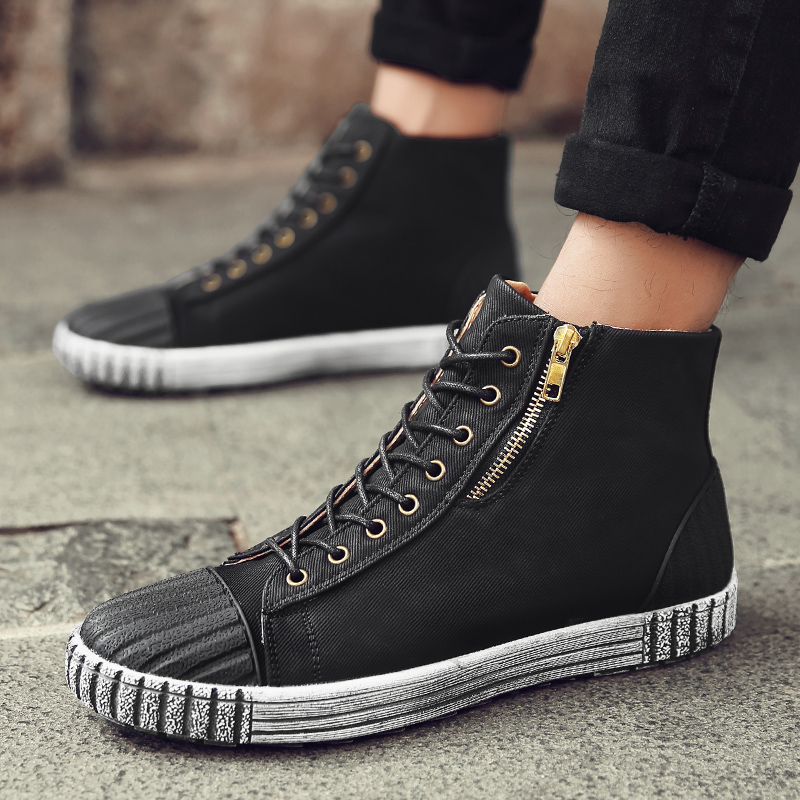 High-top Canvas Shoes Men Retro Solid Denim Lace-up Flat Casual Shoes Fashion High Quality Wear-resistant Antiskid Ankle Boot Z5 2016 hot men s high top canvas shoes lace up men british fashion casual shoes adults denim cool student