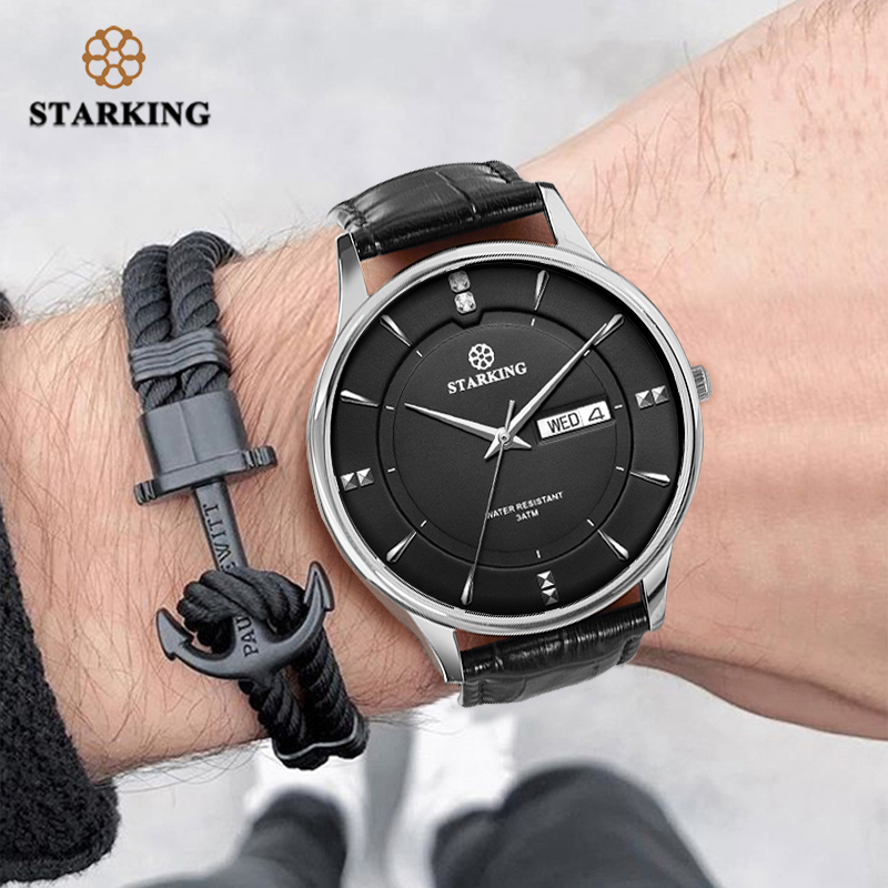 STARKING Fashion Men Watch Stainless Steel Luxury Quartz Watch Men Casual Slim Dress Waterproof Leather Sapphire Male Wristwatch