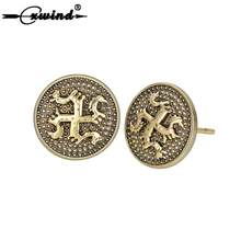 Cxwind Viking Dragon Earring Vintage in Copper Geometric Round Stud Earrings Men Women Protect Amulet Luckly Jewelry(China)
