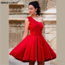 SINGLE ELEMENT One Shoulder Red Lace Appliques Short Prom Dress