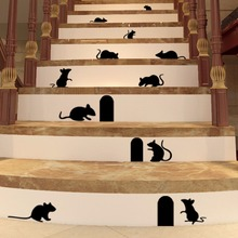 Vinyl Decal DIY Funny Graffiti Rat Hole Wall Sticker Removable Floor Stair Wall Stickers Art Wall Decal Home Mural Decor AY555