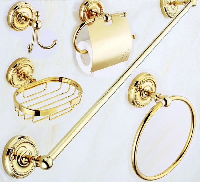 Luxury Gold Polished Brass Bathroom Accessories Set,Robe hook,Paper Holder,Towel Bar,Soap basket,bathroom Fitting aset001  free shipping solid brass bathroom accessories set robe hook paper holder towel bar bathroom sets antique brass finish yt 12200