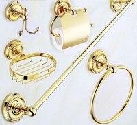 Luxury Gold Polished Brass Bathroom Accessories Set,Robe hook,Paper Holder,Towel Bar,Soap basket,bathroom Fitting aset001