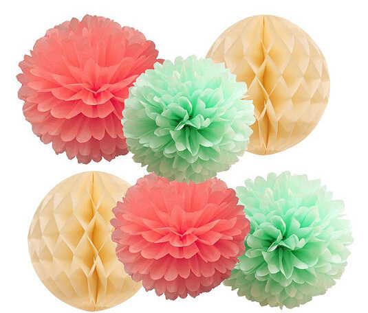 6 cái Mint Coral Giấy Tissue Pom Pom Pom Hỗn Hợp Kem Tổ Ong Bóng Wedding Birthday Gril Bé Tắm Sinh Nhật Đầu Tiên Trang Trí