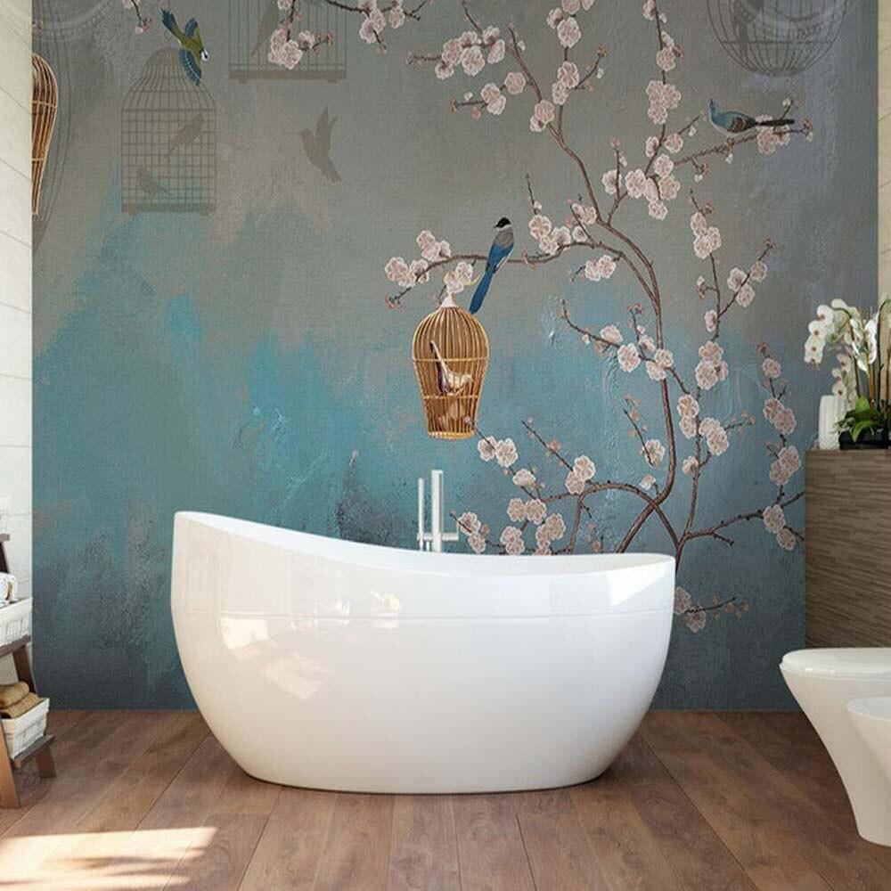 online get cheap floral wall murals aliexpress com alibaba group vintage plum bird painting wall mural living room home wall art decor papier peint 3d wall