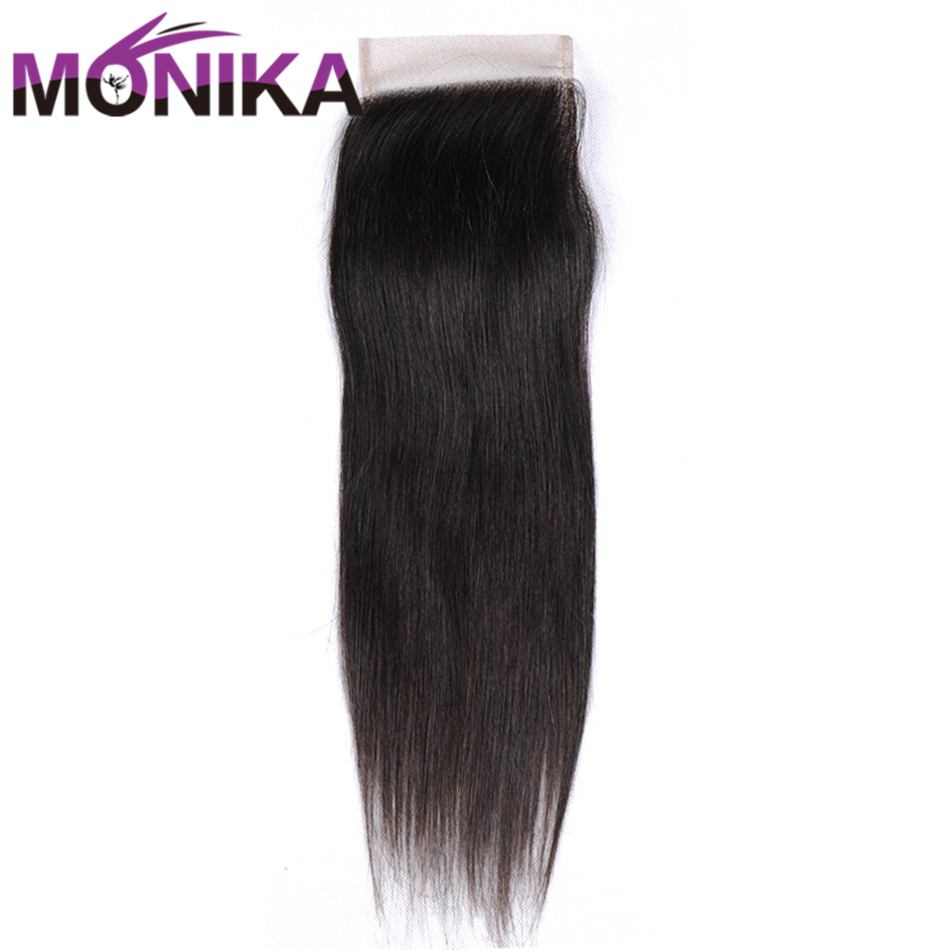 Monika Peruvian Lace Closure Straight Human hair Middle/Three/Free Part 4x4 Swiss Lace Straight Closure 1 Piece Free Shipping