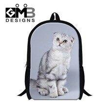 Cute White Cat 3D school bookbags for girls Womens day packs children s stylish backpacking Scottish