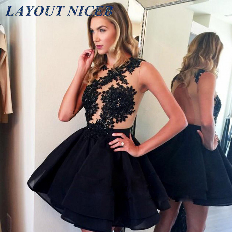 Short Prom Dress 2018 Homecoming Dress Appliques O Neck Tank A Line Vestion De Novia For Girls Custom Made