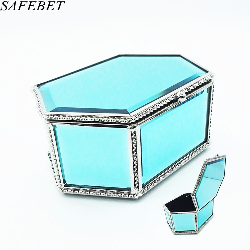 SAFEBET Brand Women Luxurious Jewelry case Cosmetic case Organizer High Quality Crystal Glass Women Jewelry Cosmetic Necessity