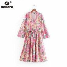 ROHOPO EU Size Floral Women Pink Midi Dress Bow Belt Ladies Maxi Mid Calf Vestido Autumn Long Sleeve Multiways Dresses #CW9284