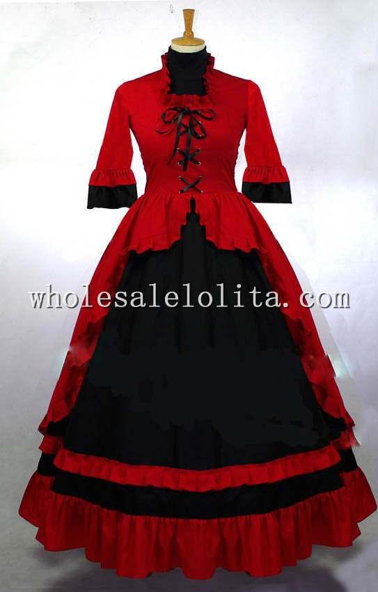 Готический Красный и Черный Викторианской Платье Бал-Маскарад Платье Готический Период Dress - Цвет: red and black