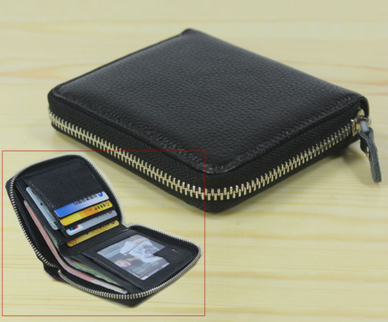 New Men/'s Genuine Leather Pure Black Wallet Clutch Purse Credit Card Money Clip