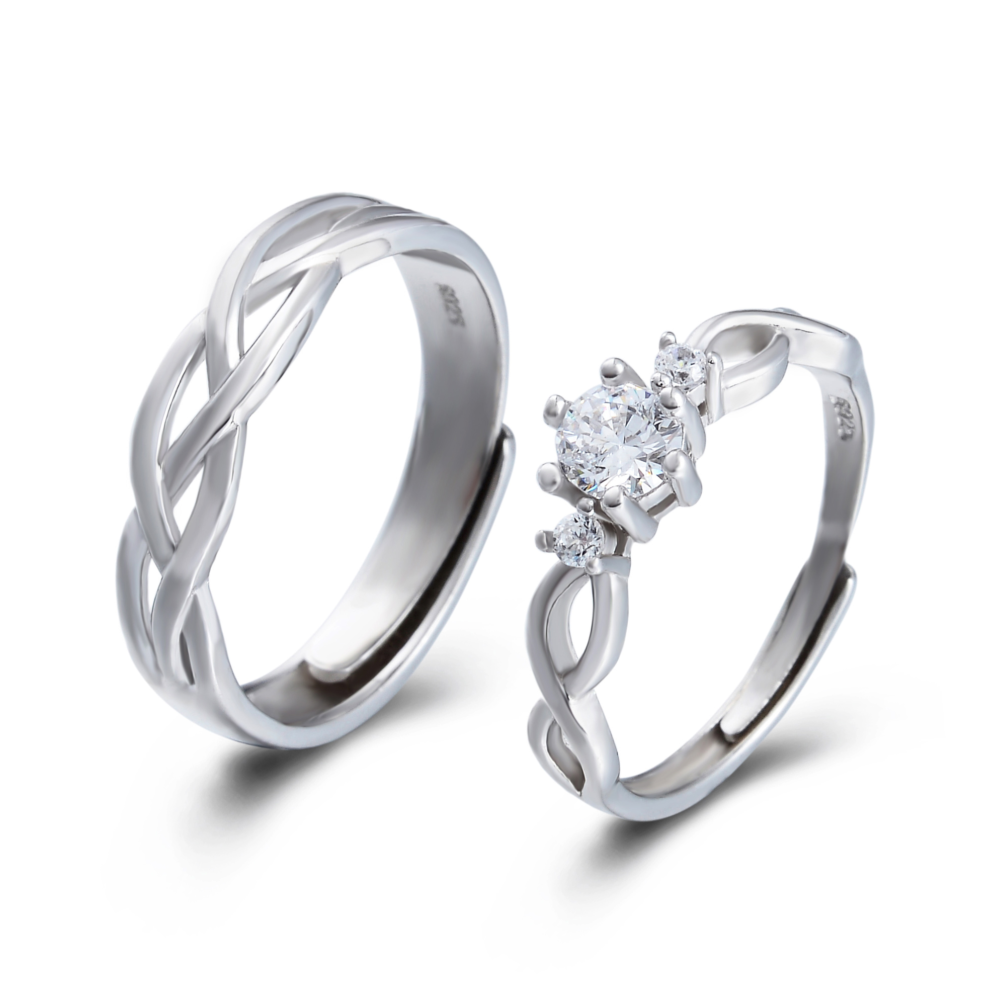 This is a picture of Vintage Wedding Band Couples Ring Set Simple Hollow Weaved Braided