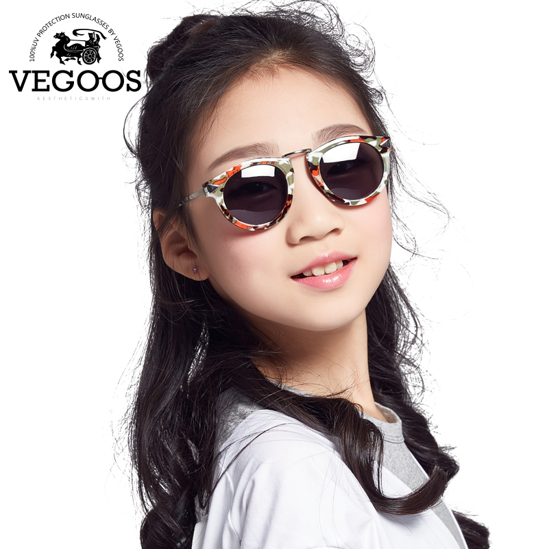 Vegoos Children Sunglasses Round Girl's TAC Material Polarized Sun Glasses Professional Anti-UV Protection Eyes #M6105 runbird 2016 new boy tac polarized goggles children sunglasses kids protection sun glasses girls cute cool glasses r026