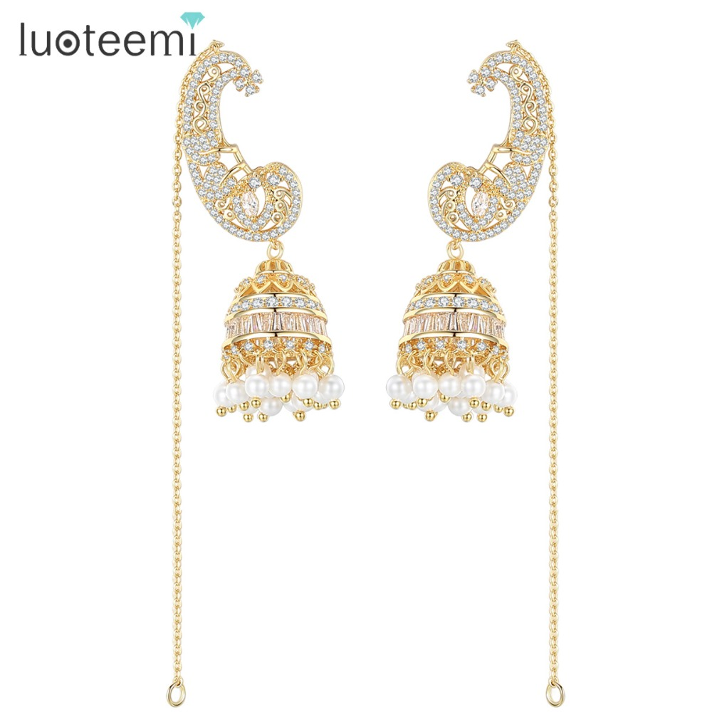 LUOTEEMI Brand Jhumka Jhumki Long Drop Dangle Earrings For Women CZ Crystal and Imitation Pearl Earrings Jewellery Gifts a suit of chic fake crystal pearl water drop necklace and earrings for women