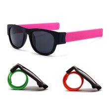 ФОТО mini folding polarized slap sunglasses women slappable bracelet sun glasses men outdoor sport wristband fold shades oculos uv400