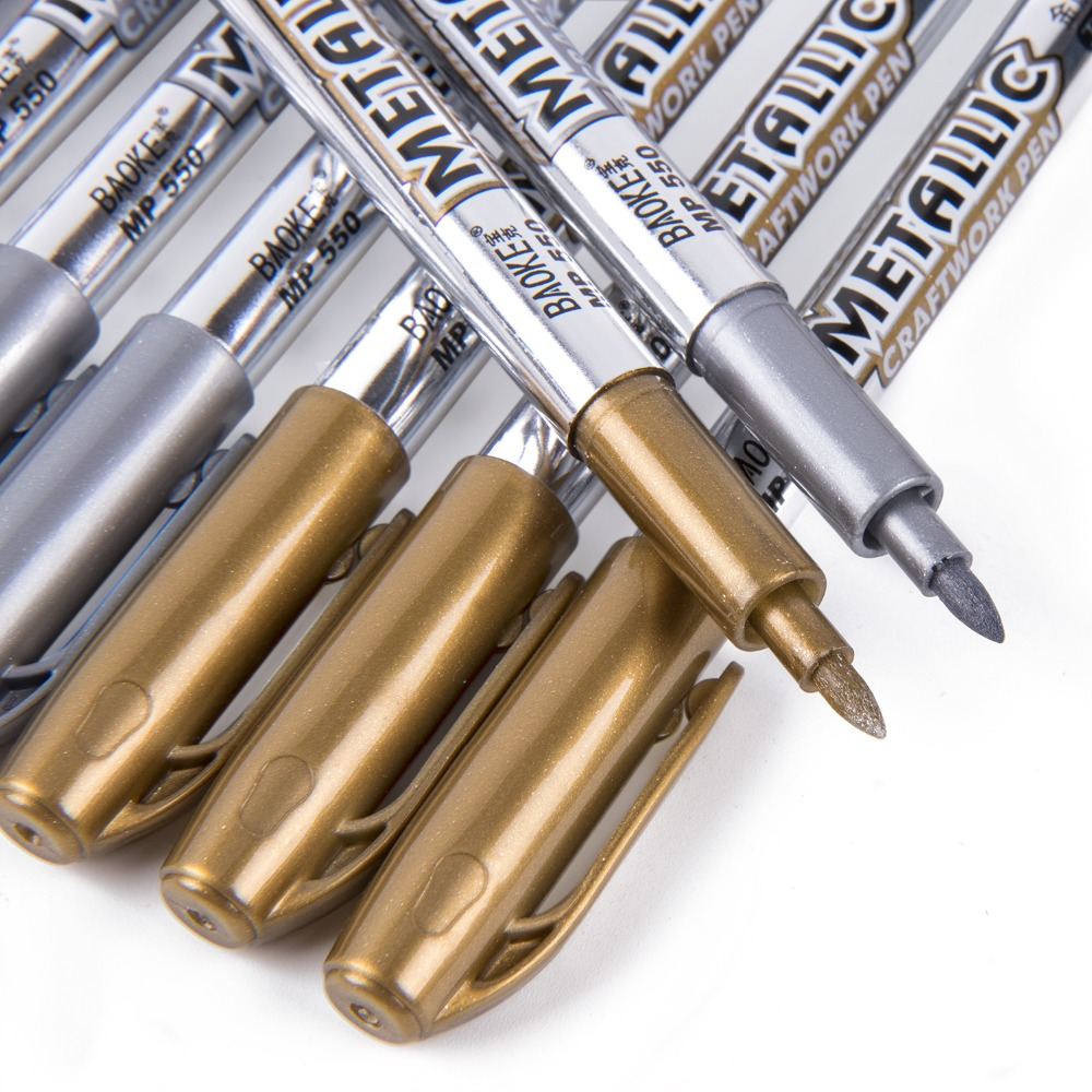 bianyo 12pcsgold silver metallic marker for glass wood fabric