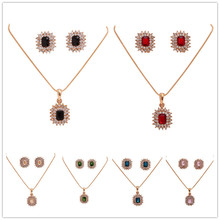 Free Shipping Vintage Jewelry Sets Crystal Square Earrings With Rhinestone Jewelry Set Crystal For Women