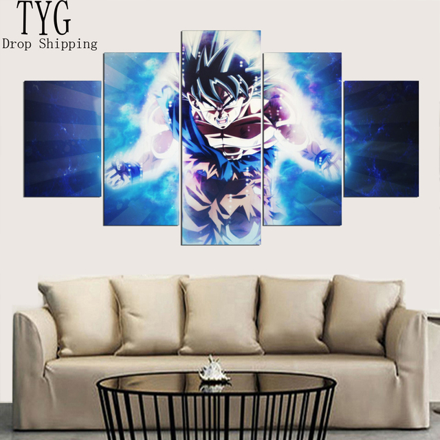 Home Decorative Frameworks HD 5 Panel Anime Dragon Ball Goku Canvas Painting Wall Art Modular Pictures For Living Room Prints