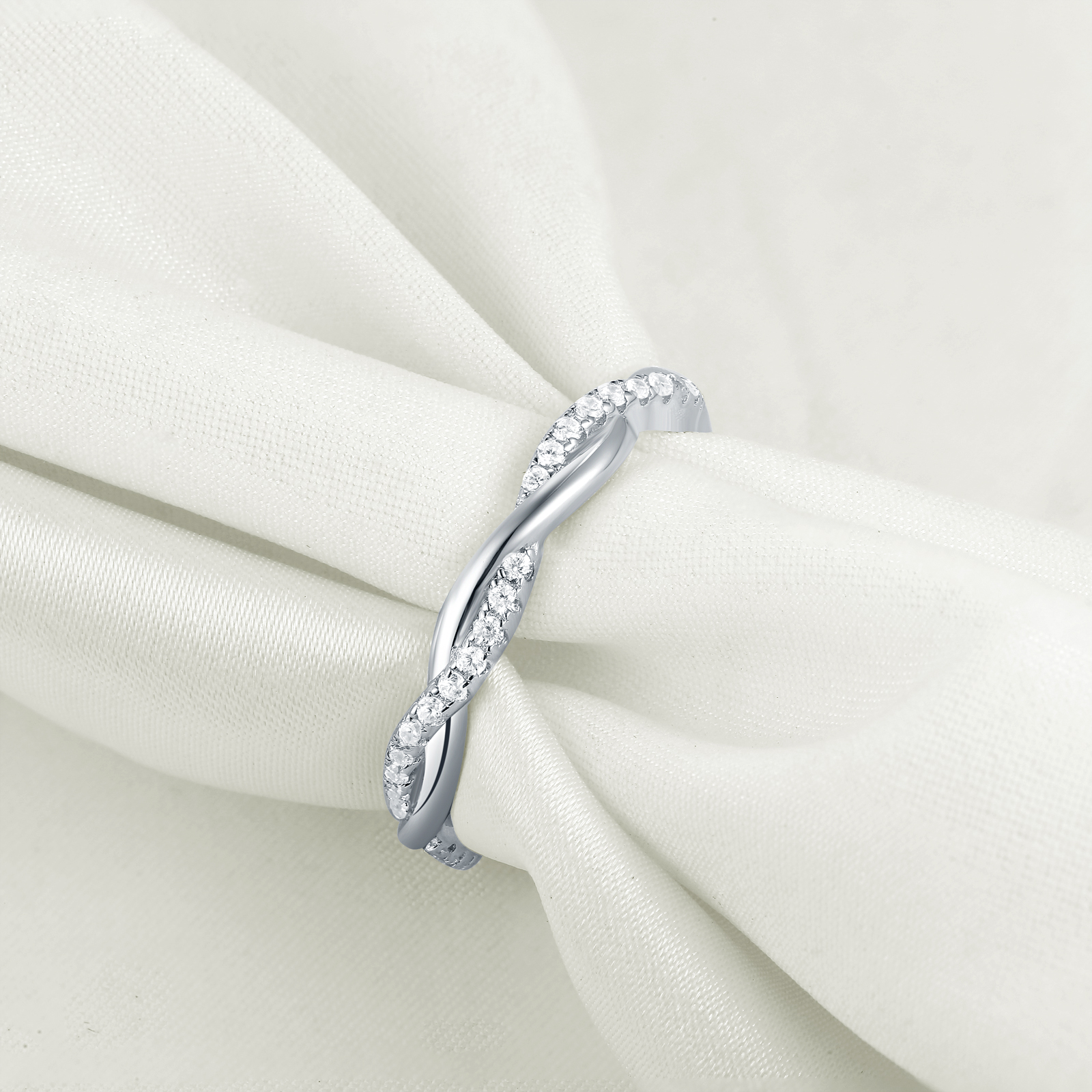Image 2 - Newshe 925 Sterling Silver Wedding Engagement Ring For Women Twist Rope Wave Design Curve Band Trendy Jewelry CZ Jewelry GiftRings   -