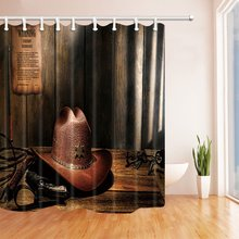 Western Cowboy Shower Curtain Cowhide Hat On The Wooden Desk Mildew Resistant Polyester Fabric
