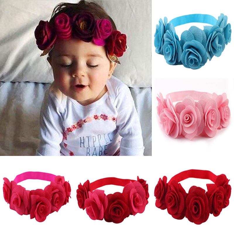 2017 Newborn Baby Kids Girls Infant Headband Flowers Hair Band Accessories Headwear