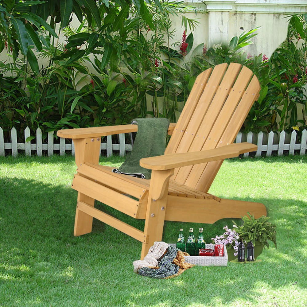 купить New Outdoor Natural Fir Wood Adirondack Chair Patio Lawn Deck Garden Furniture  HW48521 недорого