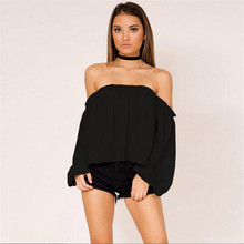 Sexy Off Shoulder Tops For Women 2018 New Fashion Long Sleeve Tee Shirts Casual Solid T