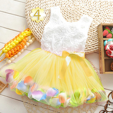 2016 Summer Cotton Baby Aestheticism Fairy Tale Petals Colorful Dress Chiffon Princess Newborn Dresses