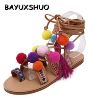Roman Sandals China Embroidery Pompon Knee High Strappy Sandals Summer New Women Tassel Sandals Gladiator Leather