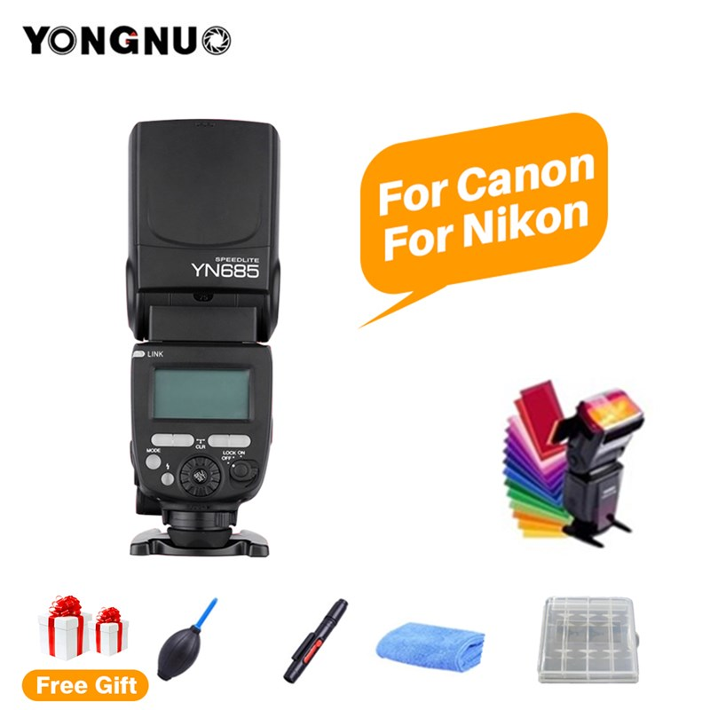 купить YONGNUO YN685 N/C GN60 Wireless 2.4G HSS Speedlite TTL Flash Speedlight for Canon Nikon DSLR Camera YN622N YN560-TX RF603 II по цене 3314.2 рублей