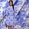 Blue And White Pattern Winter Blue Jacquard Fabrics National Wind Coat Dress Cheongsam Suit Cloth Big