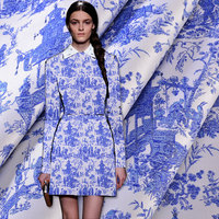 Blue And White Pattern Winter Blue Jacquard Fabrics National Wind Coat Dress Cheongsam Suit Cloth Big
