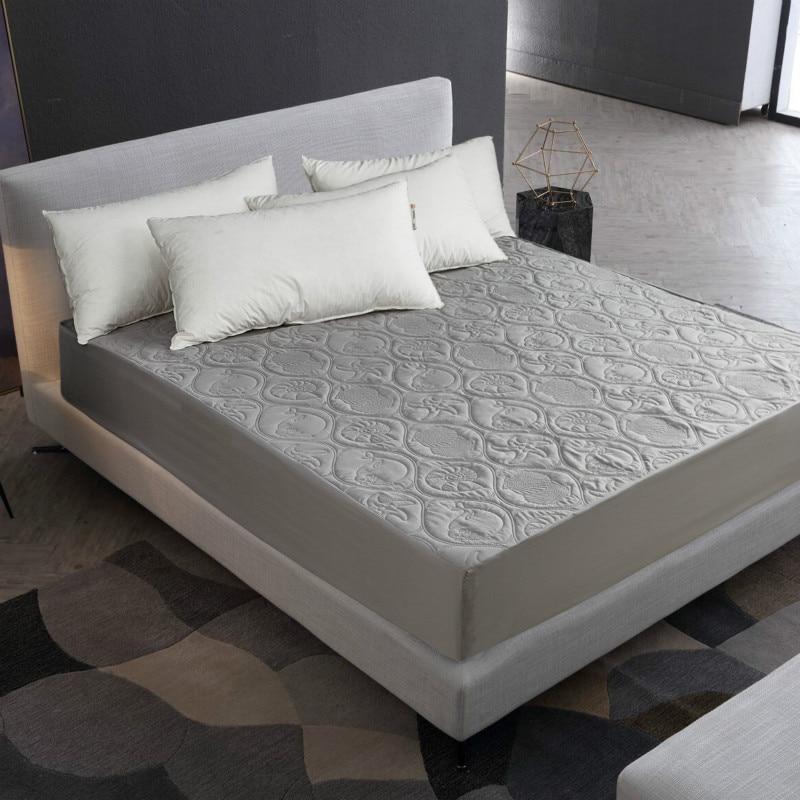 MECEROCK, Protector de colchón impermeable acolchado de Color sólido en relieve, sábana ajustada, funda de estilo para colchón, almohadilla suave y gruesa para cama