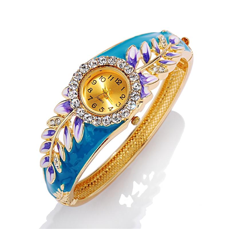 Leaf Watch 2017 18K Gold Luxury Women Watch Colorful Abstract Enamel Paint Crystal Rhinestone Bangle Wristwatches
