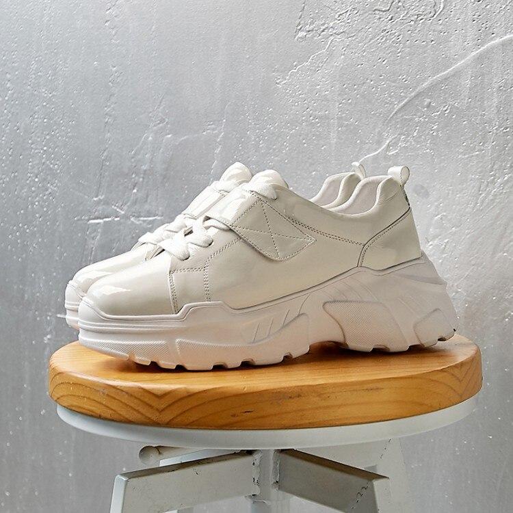Plate Décontractées Mocassins En À Verni Printemps Femmes Noir Plats forme Creepers blanc Cuir Sport 2019 Femme Lacets Chaussures Plat Nouvelle Baskets vxIa06qnw