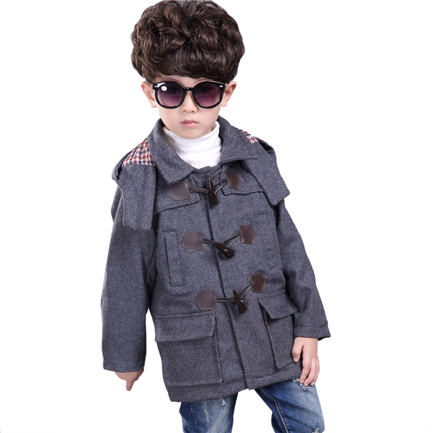 2015 Jackets Boys Winter Coat British Style Horns Button Woolen Trench Long Kids Clothes Hooded Children Clothing - Fashion Watch$Beads store