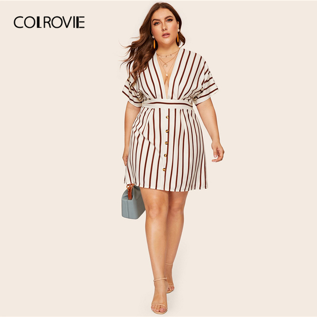 COLROVIE Plus Size Beige Deep V-Neck Striped Dress Women 2019 Summer Boho Short Sleeve A Line Office Ladies Fit And Flare Dress 4