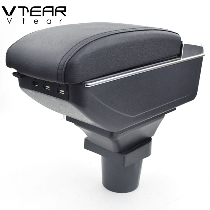 Vtear For VW UP armrest box USB Charging heighten Double layer central Store content cup holder
