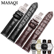 MASAQI Watch Straps For Tissot 1853 T065430A Genuine leather Watch Band Men Accessories Leather Strap T065 Watchbands 19mm