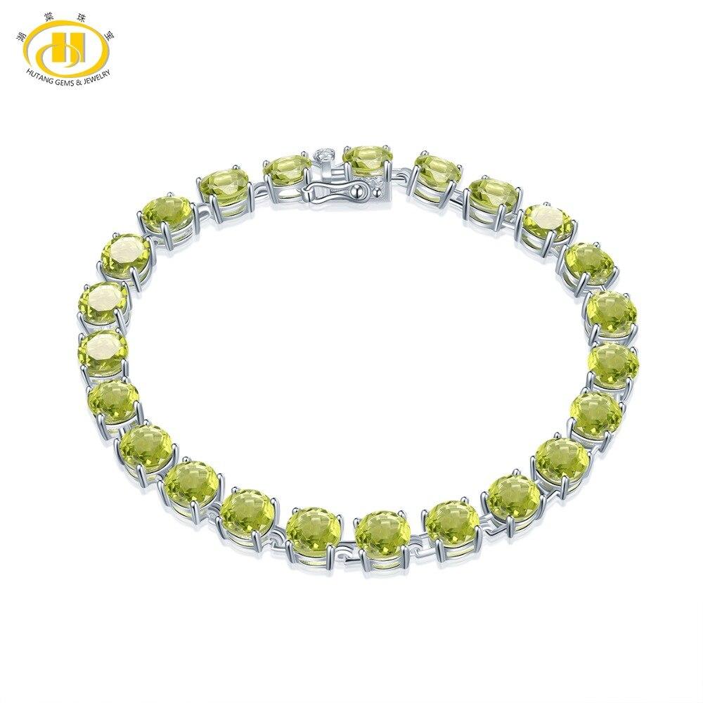 Hutang 21.41Ct péridot naturel solide 925 en argent Sterling lien chaîne Bracelet pour femmes ronde 6mm pierres précieuses bijoux fins 7.25 nouveau